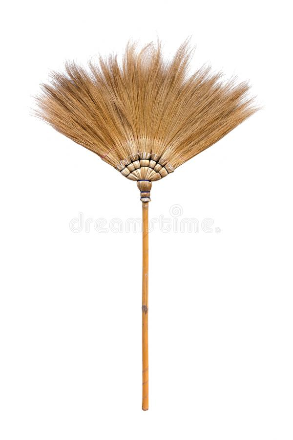 Naturalny słomiany broomstick odizolowywający na białym tle fotografia royalty free