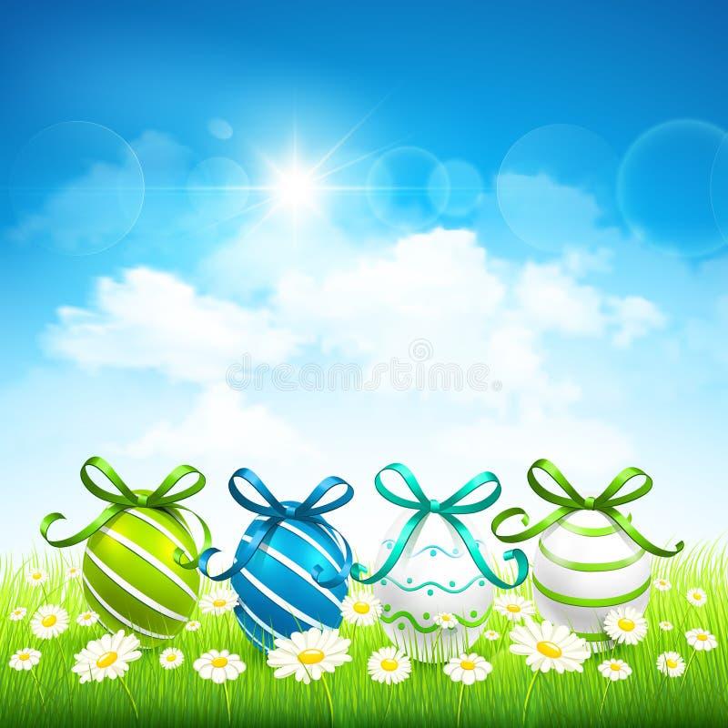 Naturalny tło z Wielkanocnymi jajkami royalty ilustracja