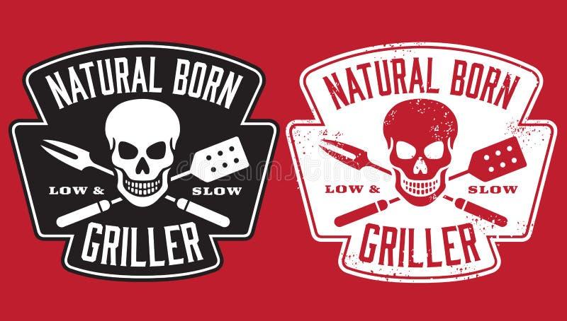 Naturalny Urodzony Griller grilla wizerunek z czaszką i krzyżującymi naczyniami ilustracja wektor
