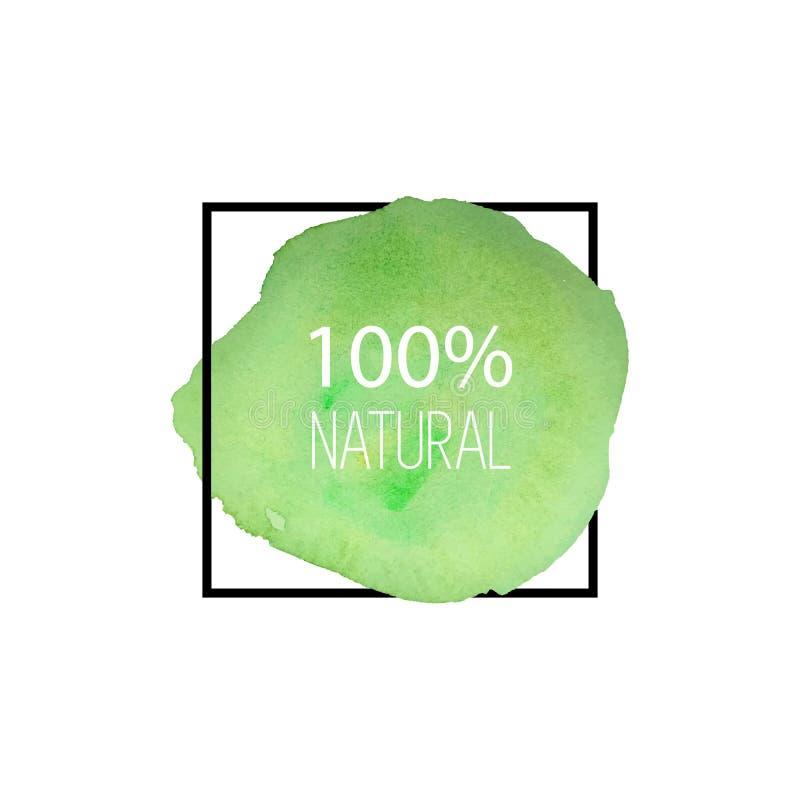 100 naturalny wektor Ręka rysujący akwarela logo jarosz zielony szczotkarski bang okrągły kształt royalty ilustracja