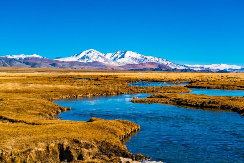 Naturalny widok piękna Mongolska śnieżna góra obraz royalty free