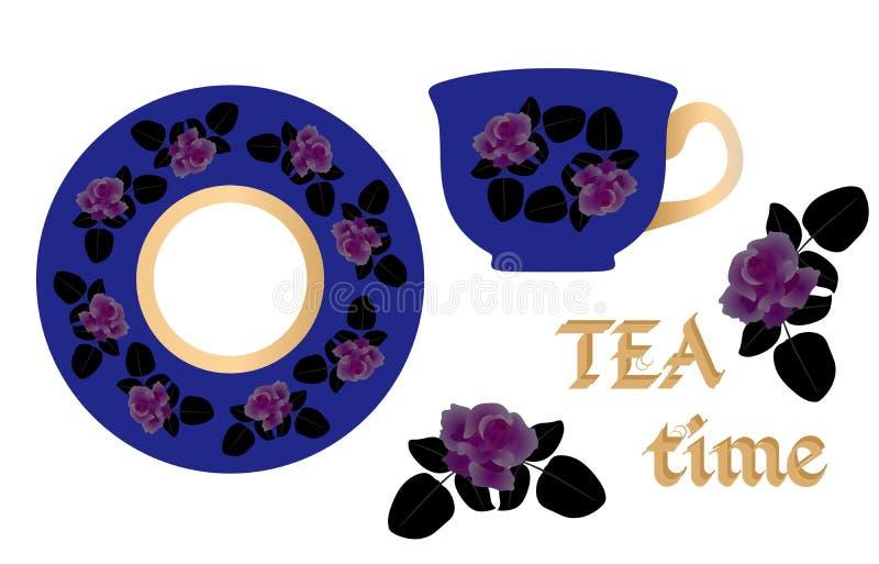 Naturalny wzór dla herbacianej pary Angielskiego śniadania Piękne róże na jaskrawym błękitnym tle ilustracji