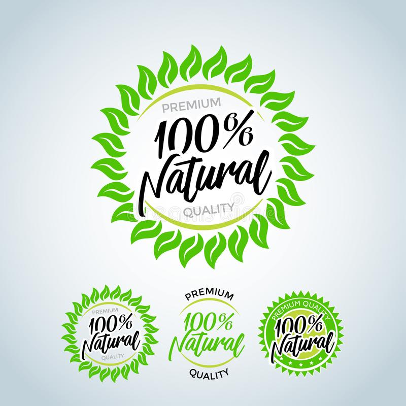 100% Naturalnych Wektorowych literowanie znaczka ilustracj Natura logo, zielona tropikalna liść ikona, wykłada stylizowanego, rou ilustracja wektor