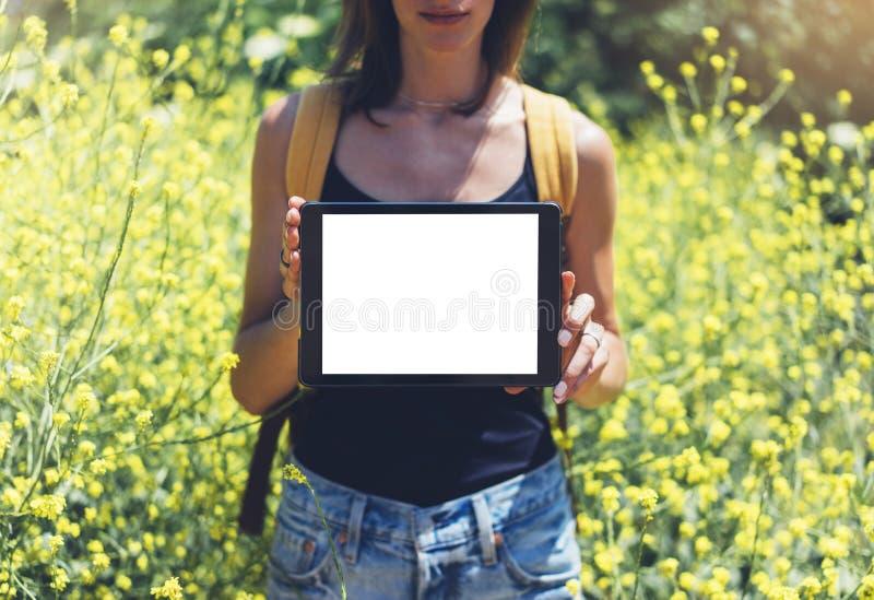 Naturansichthippie-Holding im Handtablet-computer Mädchenreisender, der Gerät auf Sonnenaufflackern und gelbem Blumenhintergrund  stockfoto