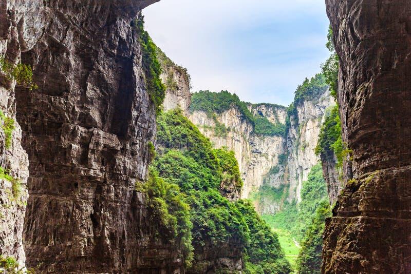 Naturarv för Wulong Karstvärld, Chongqing, Kina arkivbilder