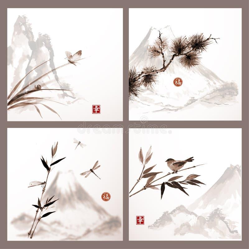 Naturbakgrunder i japansk stil royaltyfri illustrationer