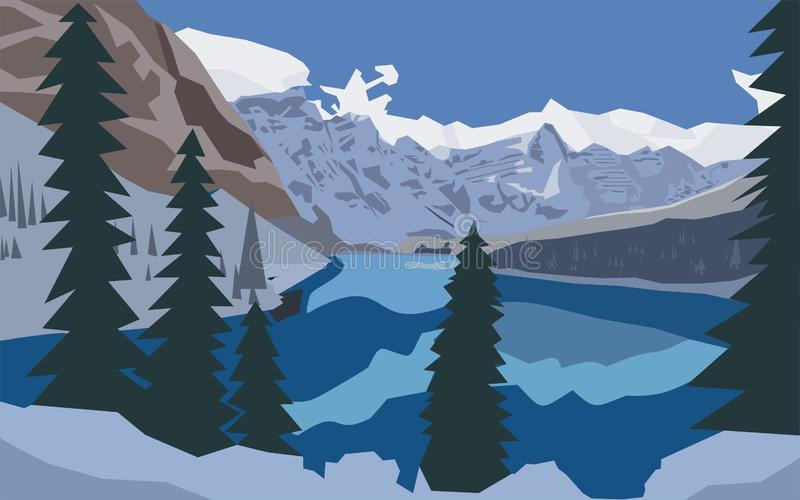 Naturberg åt illustrationen för snösjövektorn som mildrar sikt, samhörighetskänsla vektor illustrationer