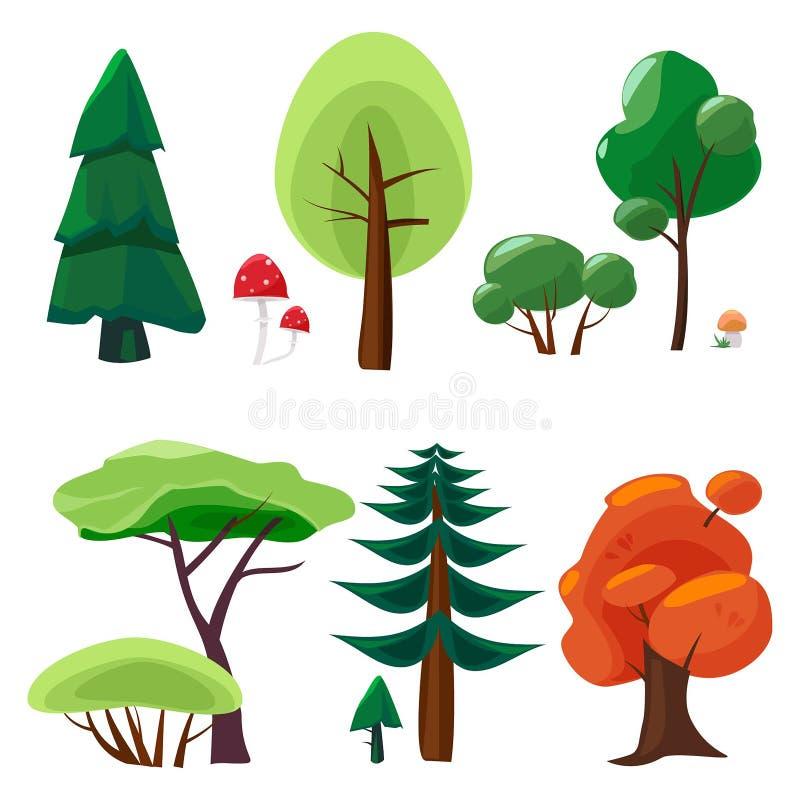 Naturbeståndsdelsamling Modig isolerad uiuppsättning av symboler för tecknad film för vektor för natur för mossa för växtstenträd stock illustrationer