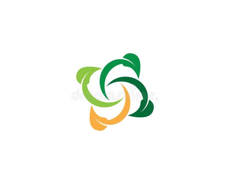 Naturblattikonen-Logoschablone stock abbildung