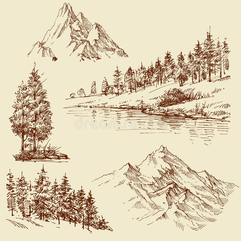 Naturdesignbeståndsdelar vektor illustrationer