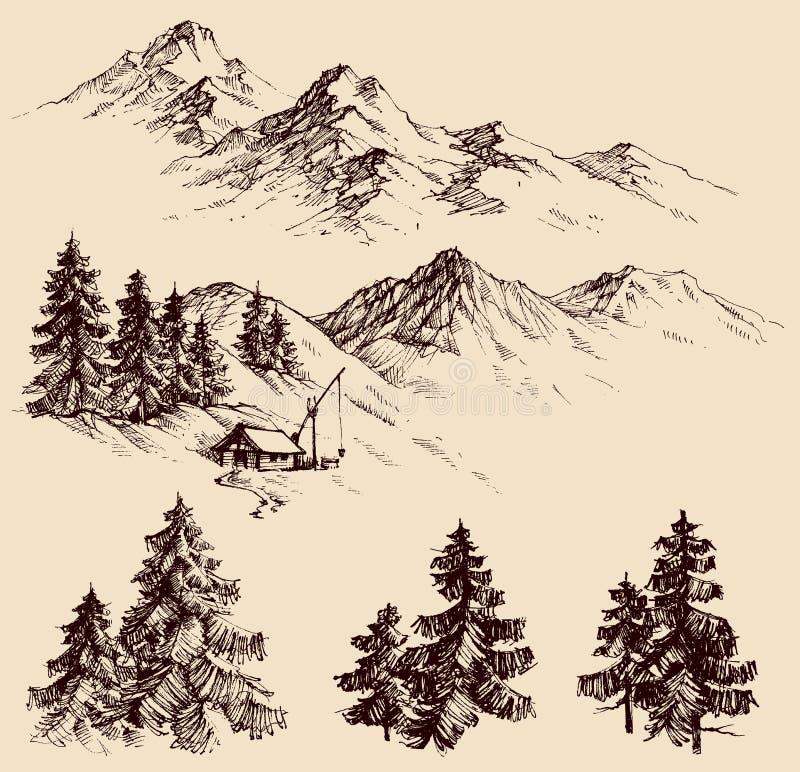 Naturdesignbeståndsdelar stock illustrationer