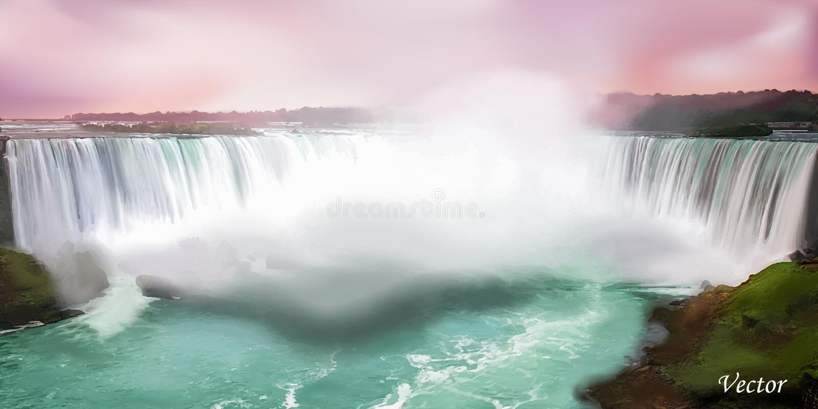 Realistic Niagara falls. Vector nature background. Colorful illustration of a waterfall stock illustration