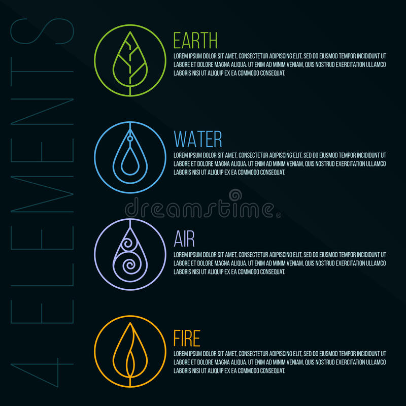 Free Nature 4 Elements Circle Logo Sign. Earth, Water, Fire, Air. On Dark Blue Background. Stock Photos - 68738693