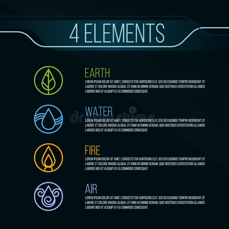 Free Nature 4 Elements Circle Logo Sign. Water, Fire, Earth, Air. On Dark Background. Royalty Free Stock Photography - 68322307