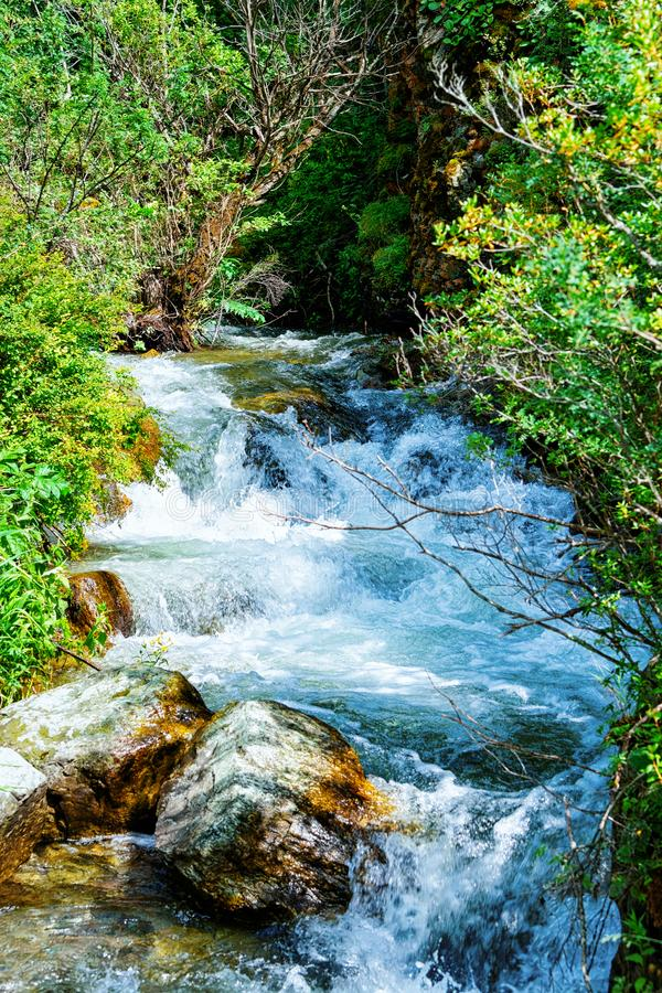 Nature of Altai mountains and Waterfall in Siberia stock photo