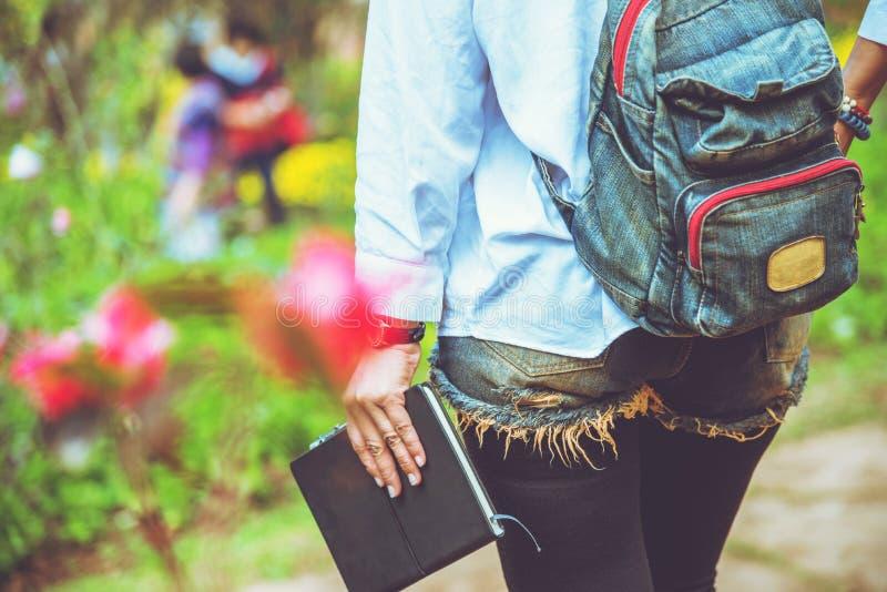 Nature asiatique de voyage de femme Le voyage d?tendent L'?tude a lu un livre ?ducation de nature Au parc public en ?t? image stock