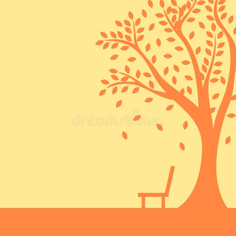 Nature autumn banner with tree and bench stock illustration