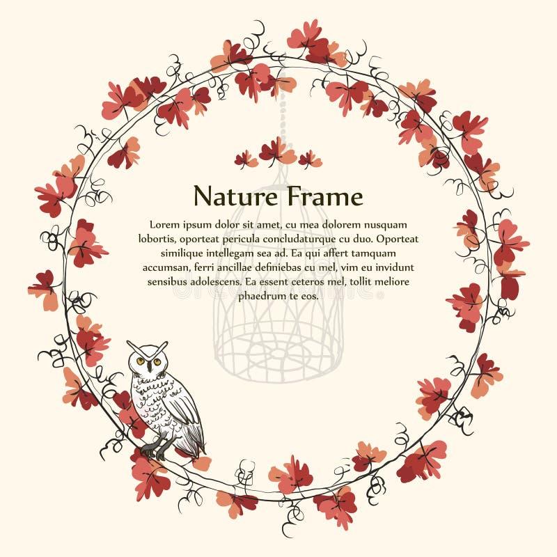 Nature autumn brown leaf vine frame and owl. royalty free illustration