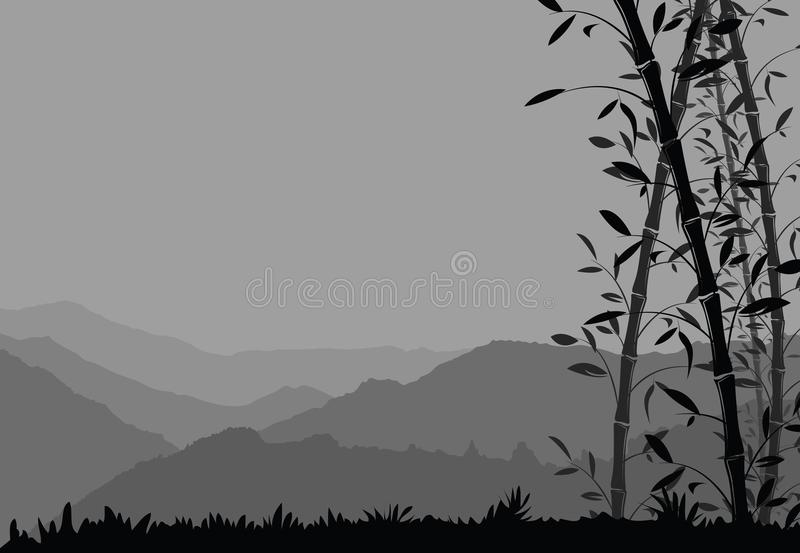 Nature Background With Bamboo Black And White Scenery