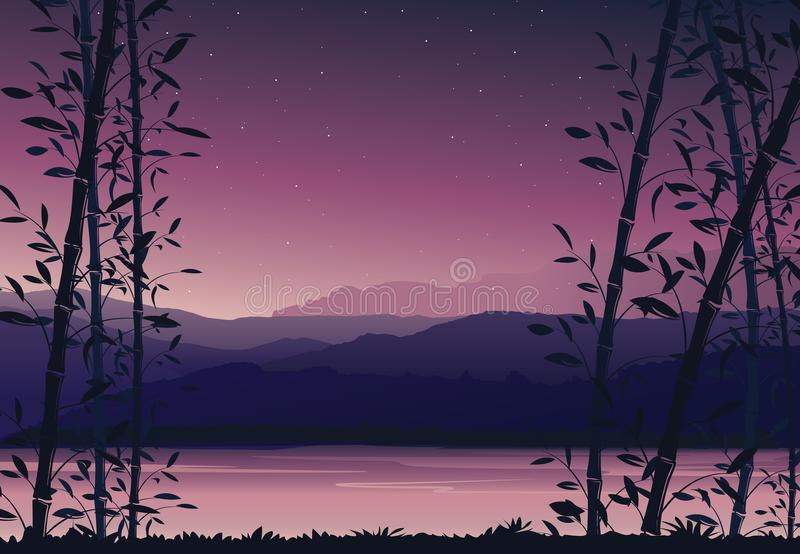 Nature background with bamboo, Colorful sunset, scenery landscape wallpaper stock illustration