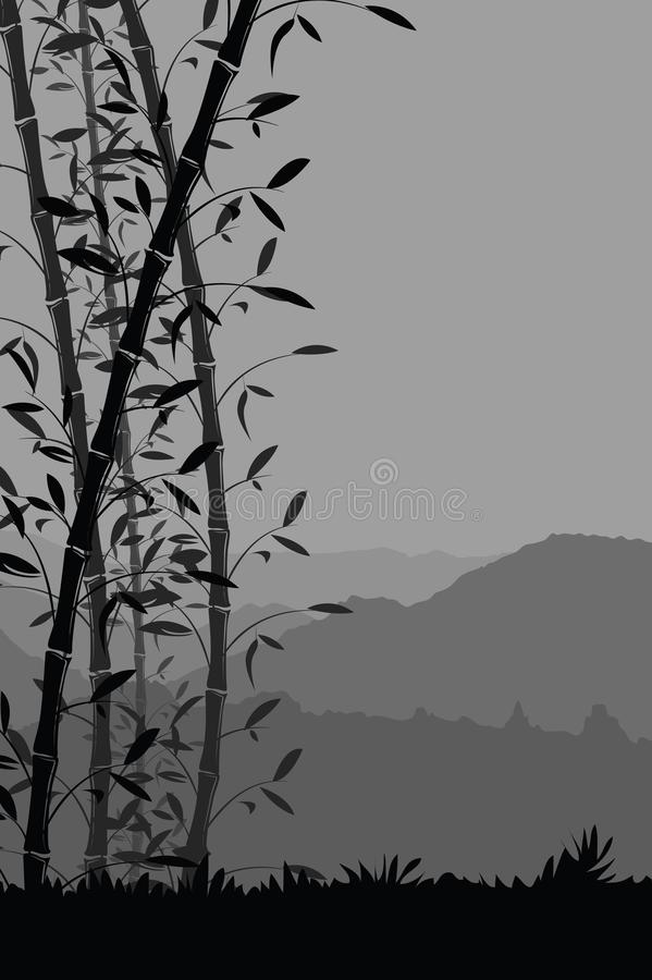 Nature Background With Bamboo Portrait View Black And White Scenery Mobile Wallpaper Stock Vector Illustration Of Japanese Concept 113640994