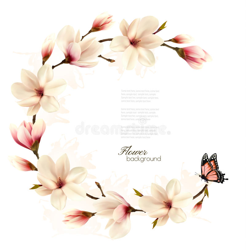 Nature background with blossom branch of white magnolia vector illustration
