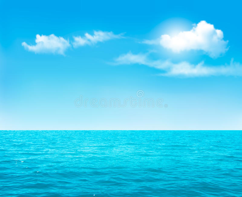 Nature background - blue ocean and blue cloudy sky. vector illustration