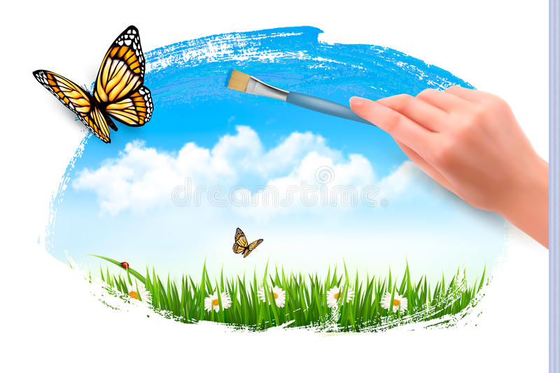 Nature background with butterflies and hand with brush. vector illustration