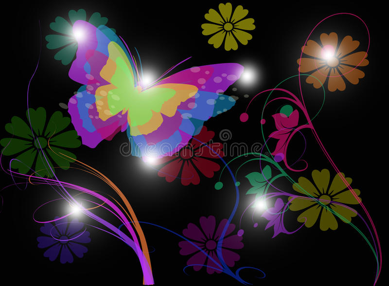 Nature background with butterfly and flower on black background stock photos