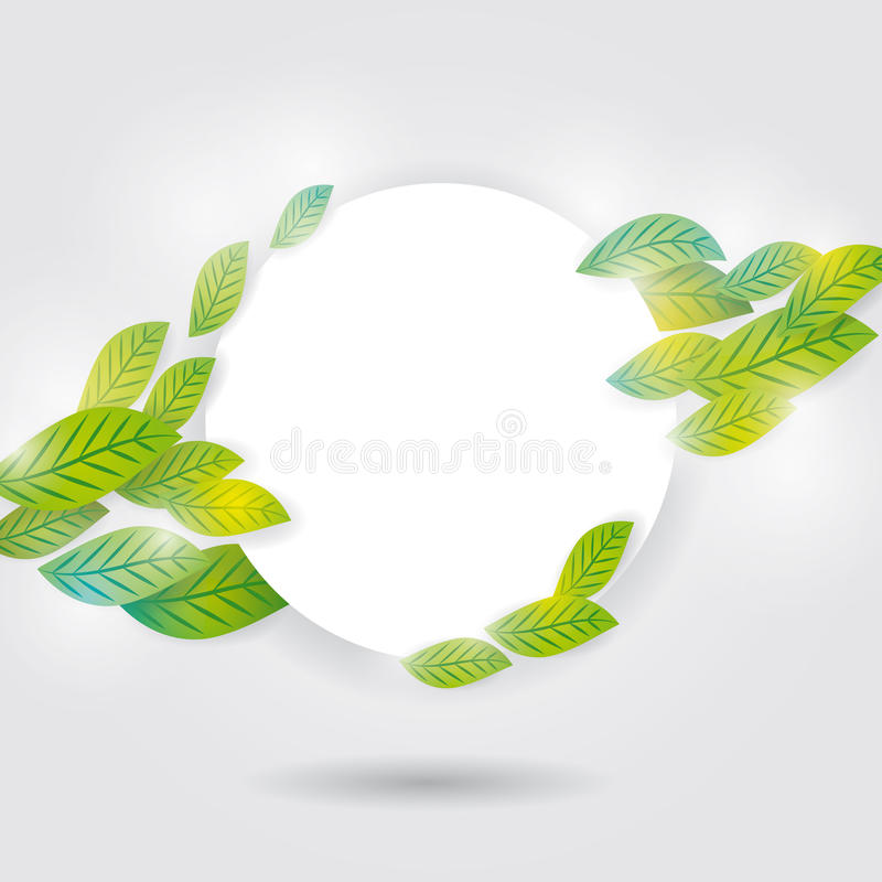 Nature background with green fresh leaves, white circle for your text royalty free illustration