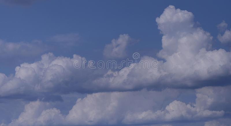 Nature background.Many white fluffy cumulus clouds against a blue sky. stock images
