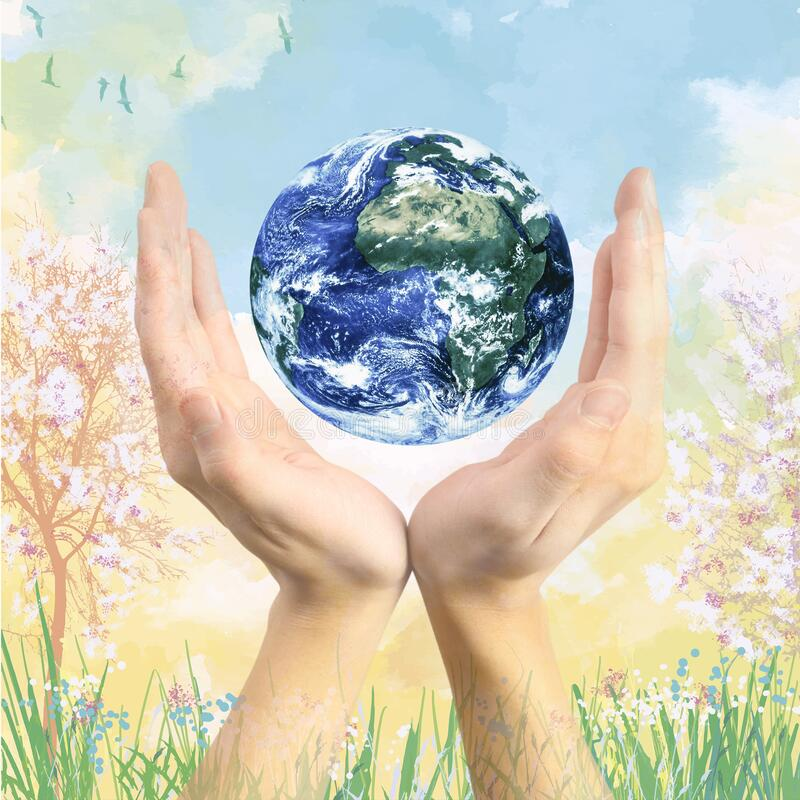 Earth globe in hands with a painting style background landscape stock images