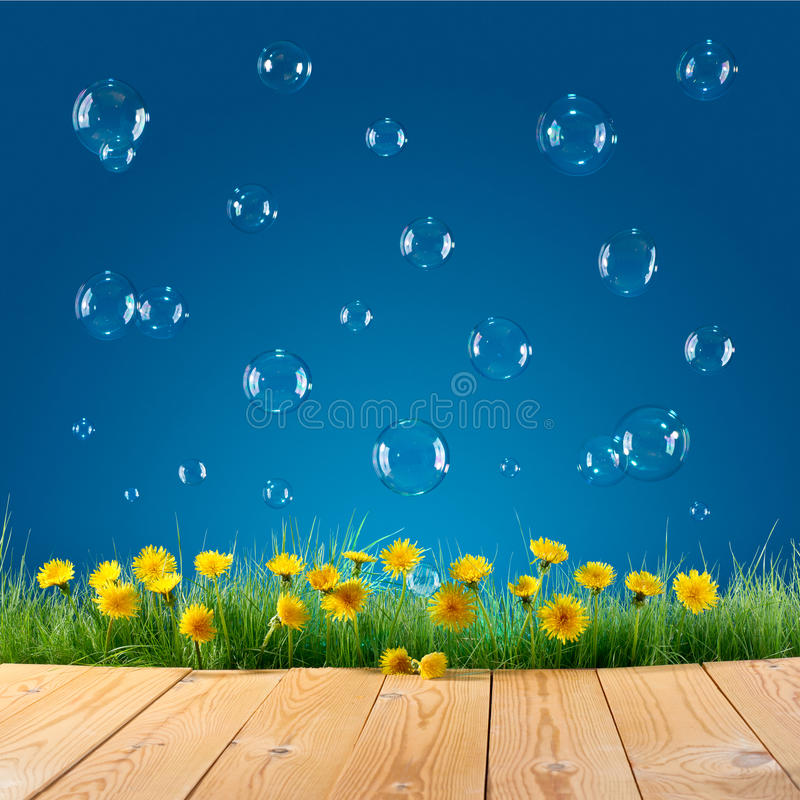 Nature background with soap bubbles royalty free stock images