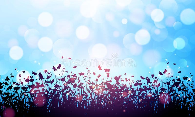 Nature background with wildflowers and butterflies on blue background with bokeh. Vector illustration royalty free illustration
