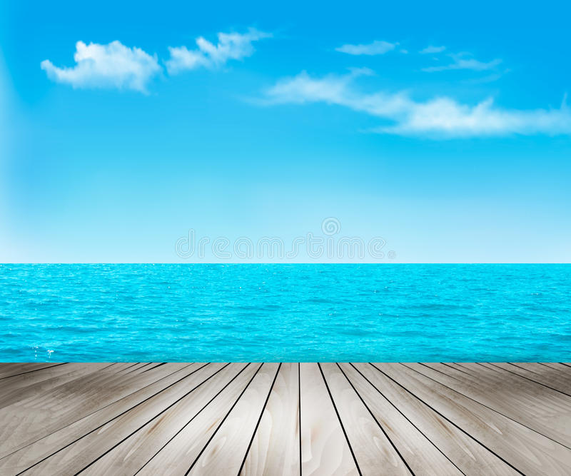 Nature background with a wooden deck, the sea and the sky. stock illustration