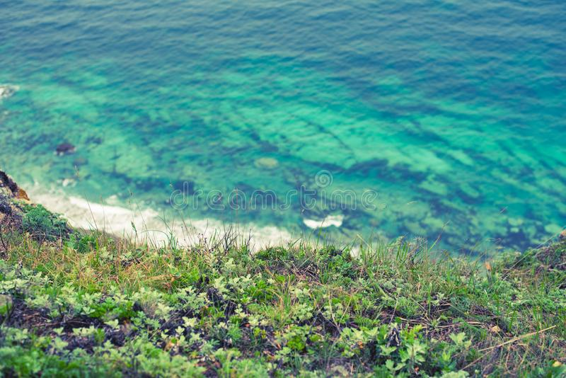 Nature beach sea landscape, blue water beach Beautiful Bay coastline stock images