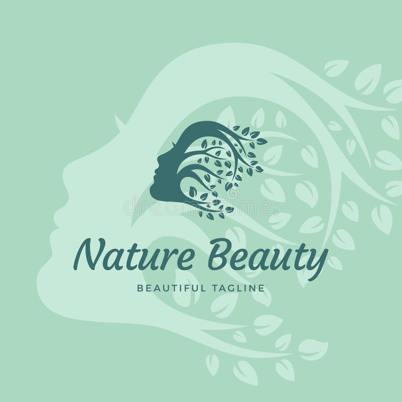 Nature Beauty Abstract Vector Sign, Emblem or Logo Template. Beautiful Woman Face with Curly Hair of Branches with Leafs royalty free illustration