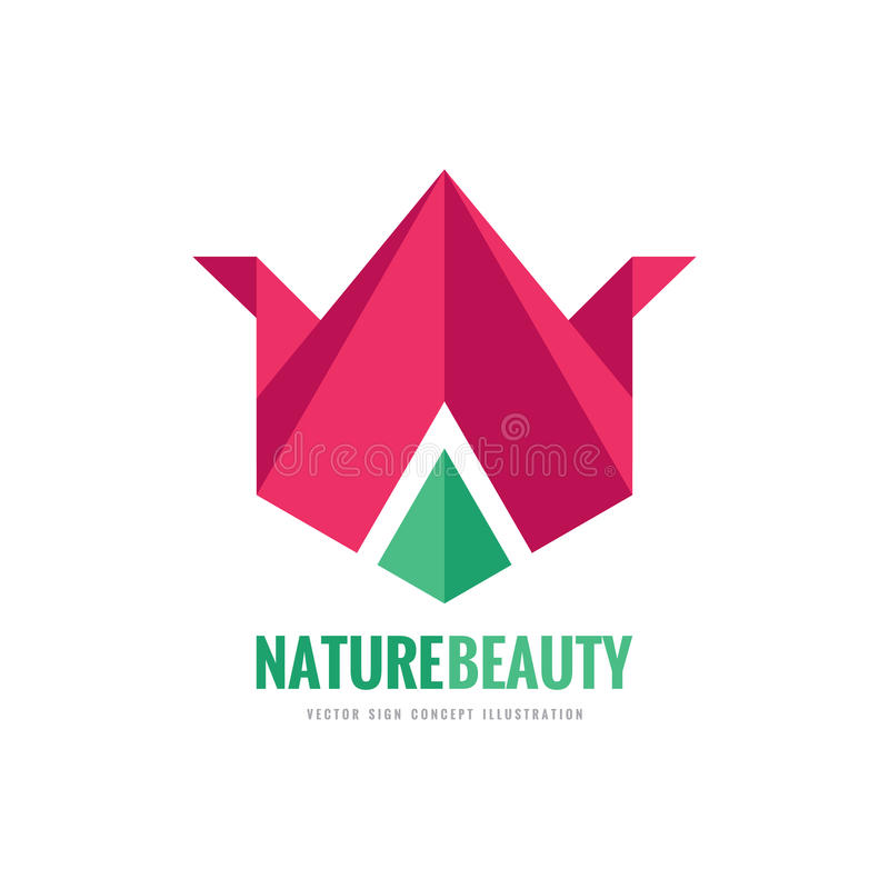 Nature beauty - vector logo template concept illustration in flat and origami style. Abstract tulip sign. Geometric flower. royalty free illustration