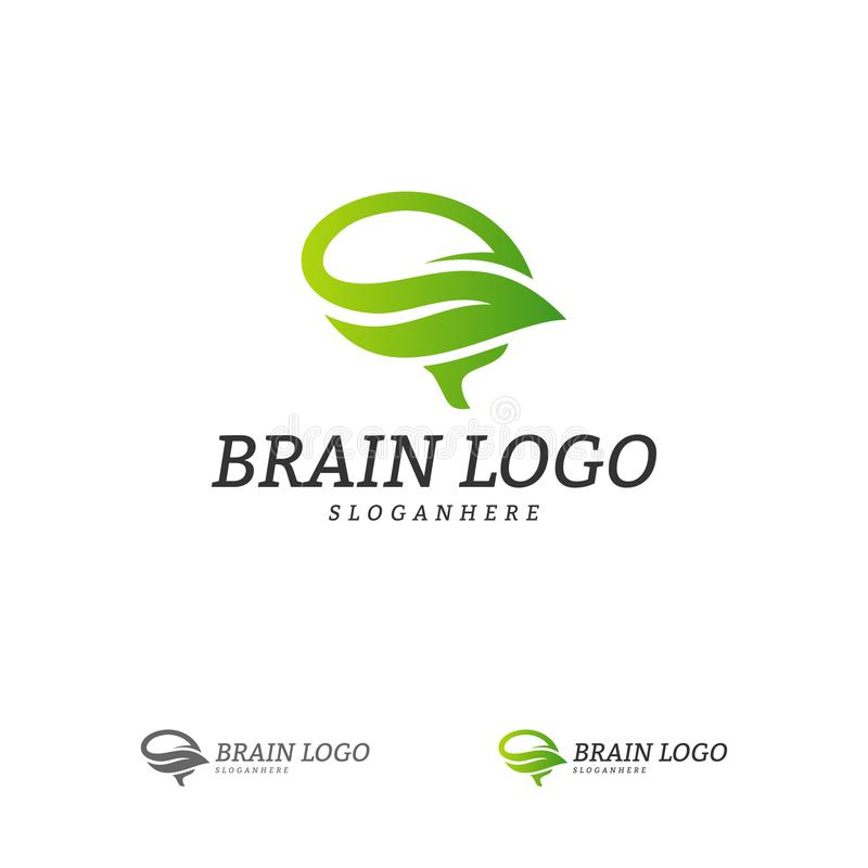 Nature Brain Logo Vector Template Brain Mind avec la feuille Logo Concepts illustration libre de droits