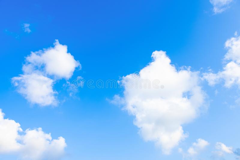 Nature Bright blue Sky with white clouds on blackground. Beautiful sky and clouds in the afternoon stock photos