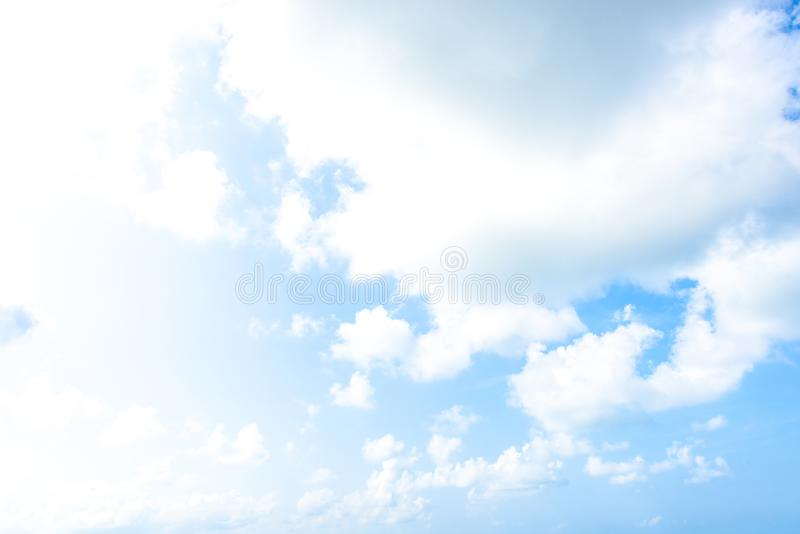 Nature Bright blue Sky with white clouds on blackground. Beautiful sky and clouds in the afternoon royalty free stock image