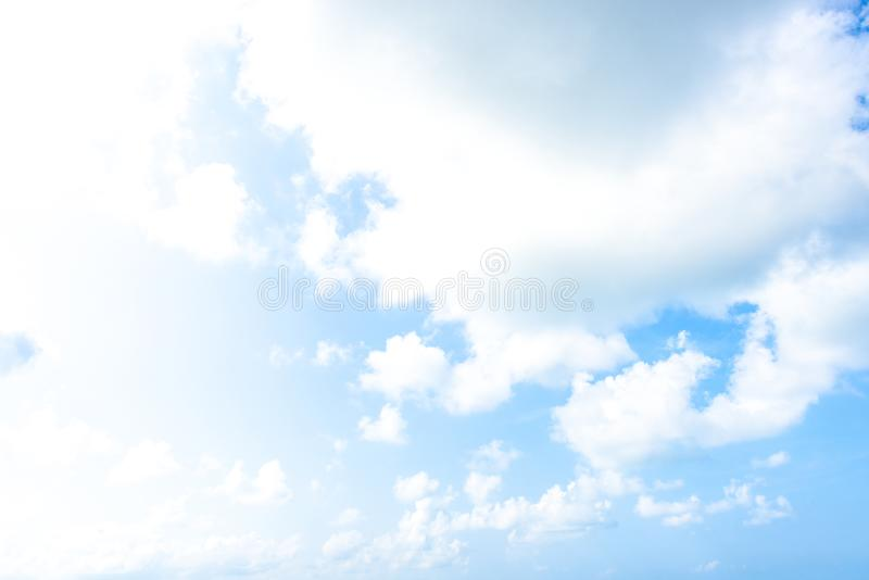 Nature Bright blue Sky with white clouds on blackground. Beautiful sky and clouds in the afternoon royalty free stock photography