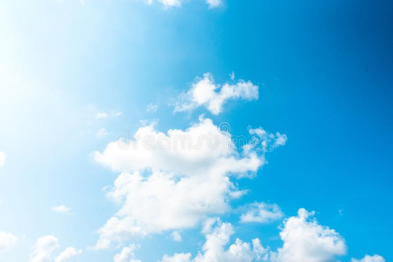 Nature Bright blue Sky with white clouds on blackground. Beautiful sky and clouds in the afternoon stock images