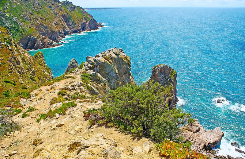The nature of Cape Roca. The scenic nature of Cape Roca with mountain landscape, numerous hottentot-fig plants, covering rocky cliffs and bright blue waters of royalty free stock image