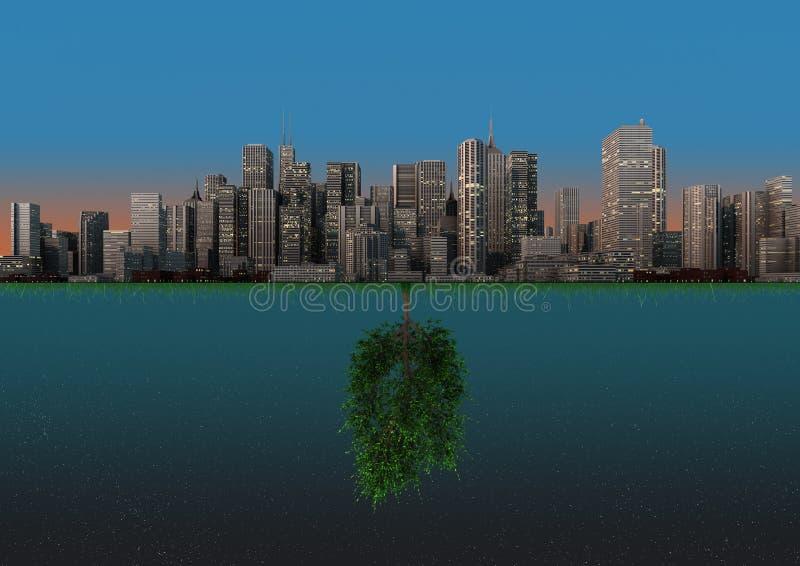 Download Nature and city balance stock illustration. Illustration of tree - 21410223