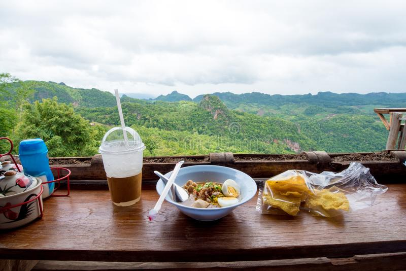 The Nature City Of North hanging leg noodle restaurantMae Hong Son, Thailand.  royalty free stock images