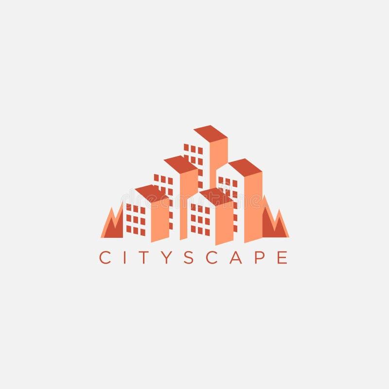 Nature cityscape logo inspiration, with negative space style design stock illustration