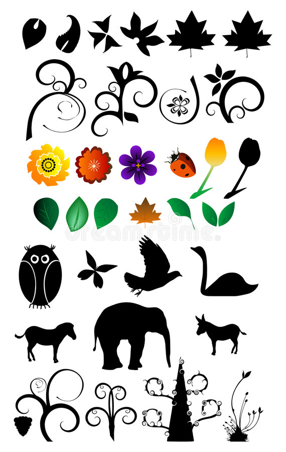 Download Nature Clipart Set stock vector. Image of isolated, floral - 4445867