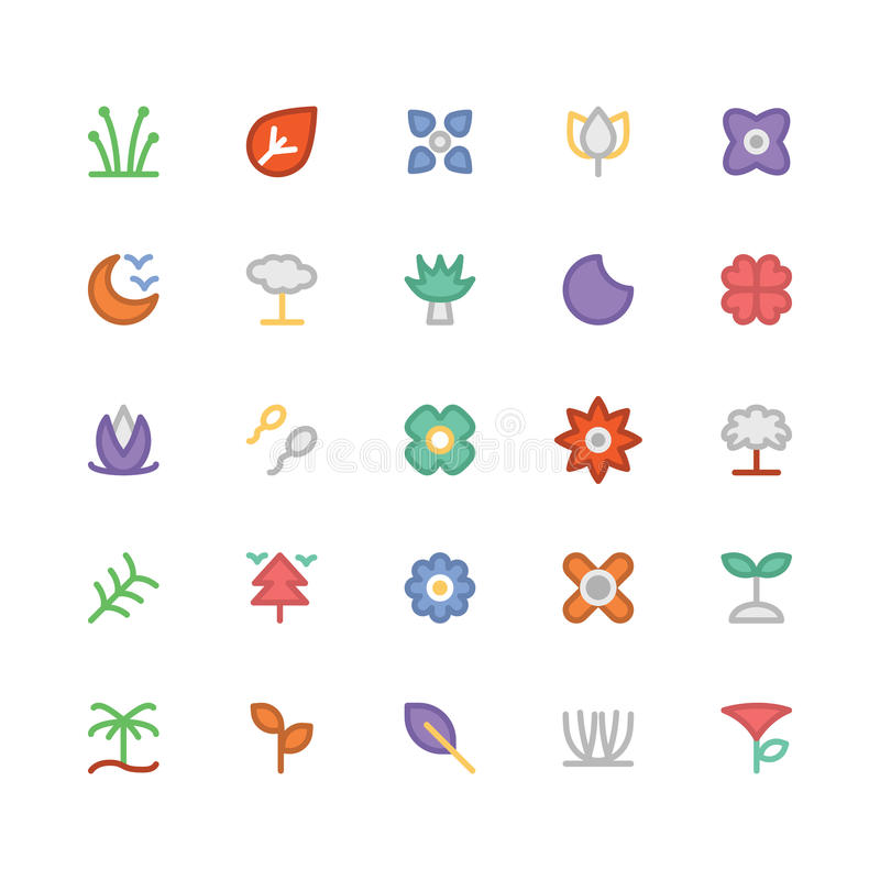 Nature Colored Vector Icons 9 royalty free illustration