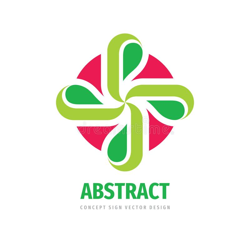 Nature concept logo design. Cross with green leaves - creative sign. Floral logo symbol. Health care logo icon. Vector royalty free illustration